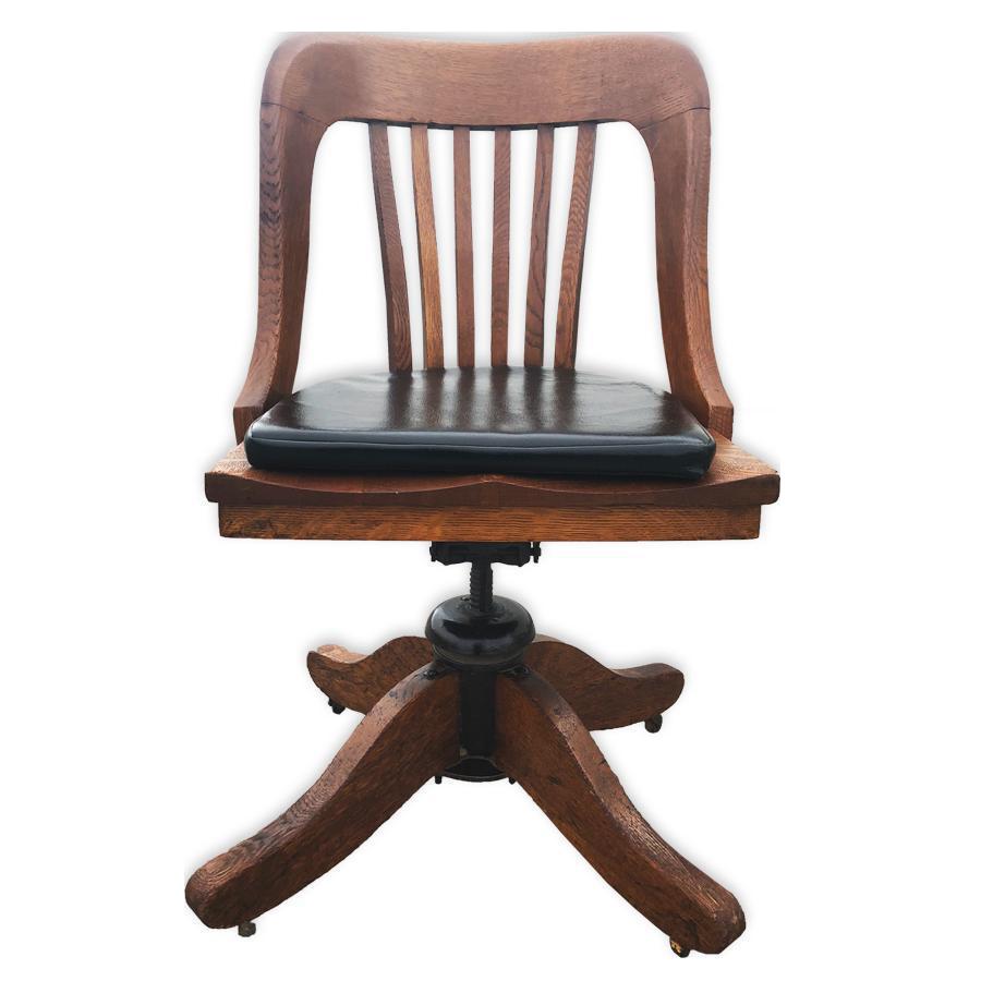 Antique Globe Wernicke Oak Lawyers Bankers Office Swivel Chair For Sale