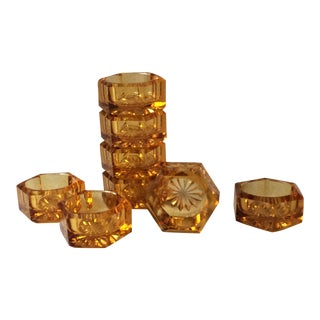Vintage Amber Hexagonal Cut Glass Star Salt Cellars - Set of 8 For Sale