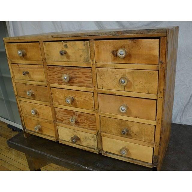 Vintage Handcrafted 15-Drawer Pine Storage Cabinet - Image 3 of 10