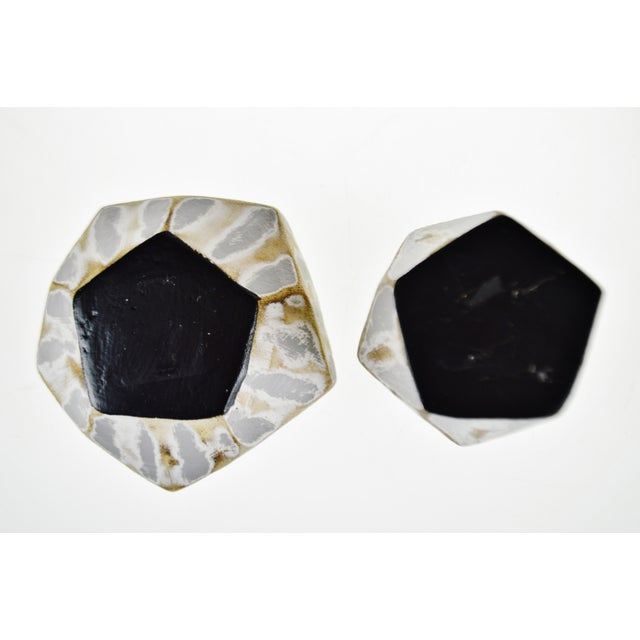 White Vintage Geometric Faceted Votive Candle Holders - a Pair For Sale - Image 8 of 9