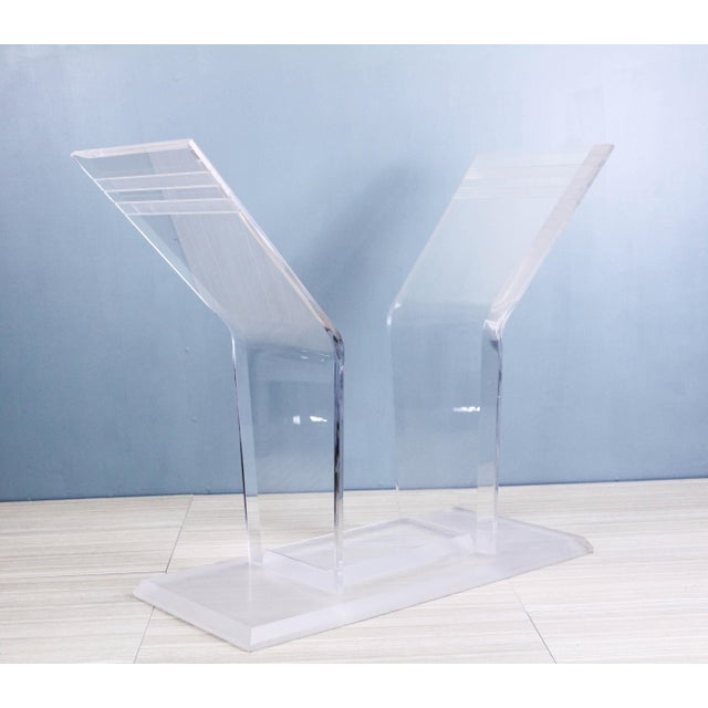 Mid-Century Modern 1970s Lucite Pedestal Console For Sale - Image 3 of 11