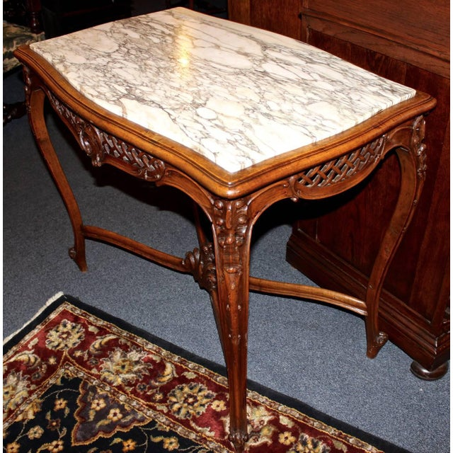 French Louis XV Style Marble-Top Library Table For Sale In Los Angeles - Image 6 of 8