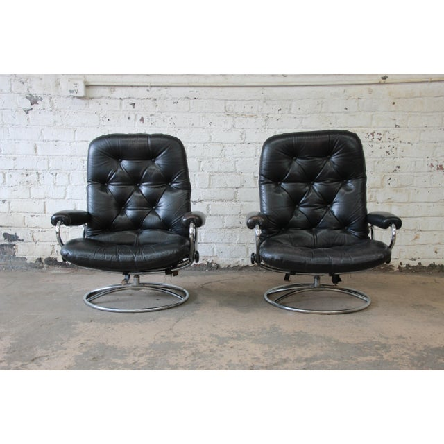superb vintage black leather ekornes stressless lounge chairs