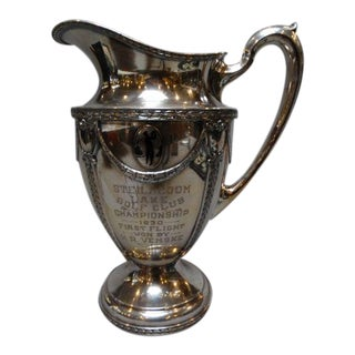 Engraved Wallace Brothers Silver Plate Golfing Trophy Pitcher For Sale