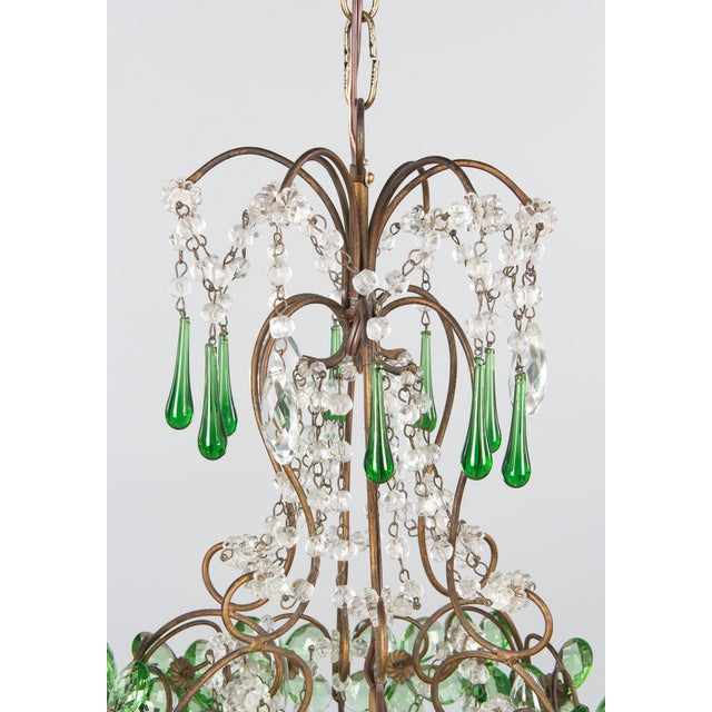 1920s French Green Glass and Crystal Chandelier For Sale - Image 4 of 13