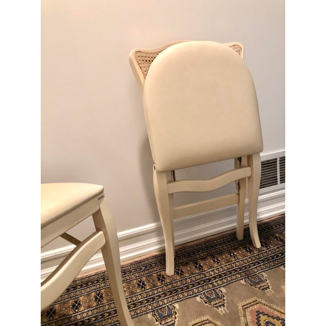 Ivory Caned Backed Neutral Colored Stackmore Folding Chairs - Set of 4 For Sale - Image 8 of 12
