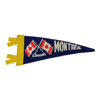 Vintage Mid-Century Montreal Canada Felt Flag For Sale