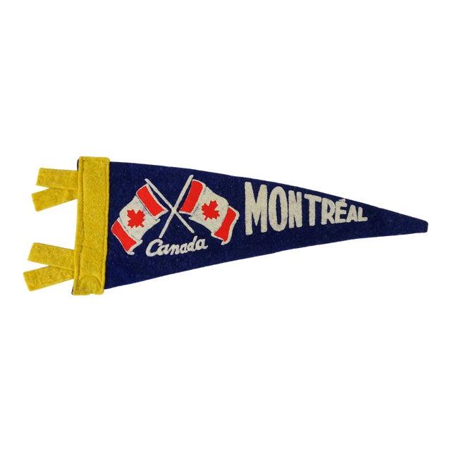 Vintage Mid-Century Montreal Canada Felt Flag For Sale