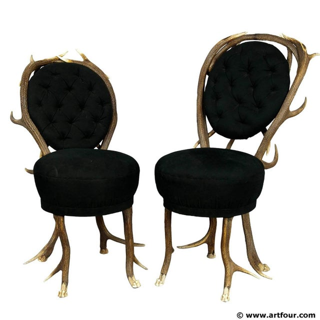 Mid 19th Century Pair Of Rare Antler Parlor Chairs, French Ca. 1860 For Sale - Image 5 of 5