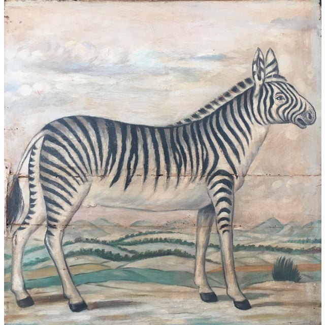 Rustic Antique Zebra Painted Wooden Tray For Sale - Image 3 of 11