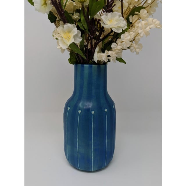 Jonathan Adler Inspired Handmade Mid-Century Modern Stripped and Dotted Blue Vase For Sale In Providence - Image 6 of 12