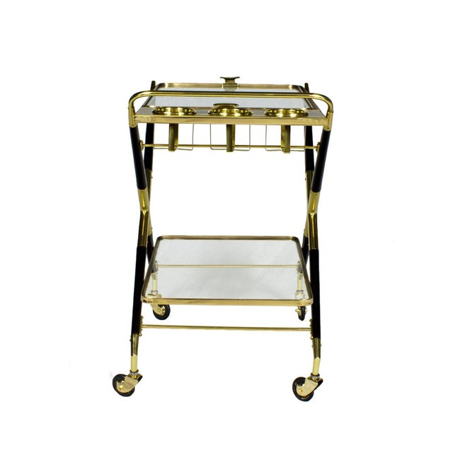 1950s 1950s Bar Cart with Tray by Cesare Lacca, Beech, Brass and Glass, Italy For Sale - Image 5 of 11