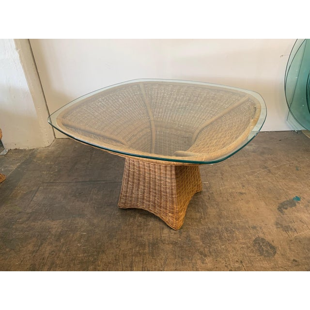 Hollywood Regency Sculptural Wicker Dining Table For Sale - Image 3 of 7
