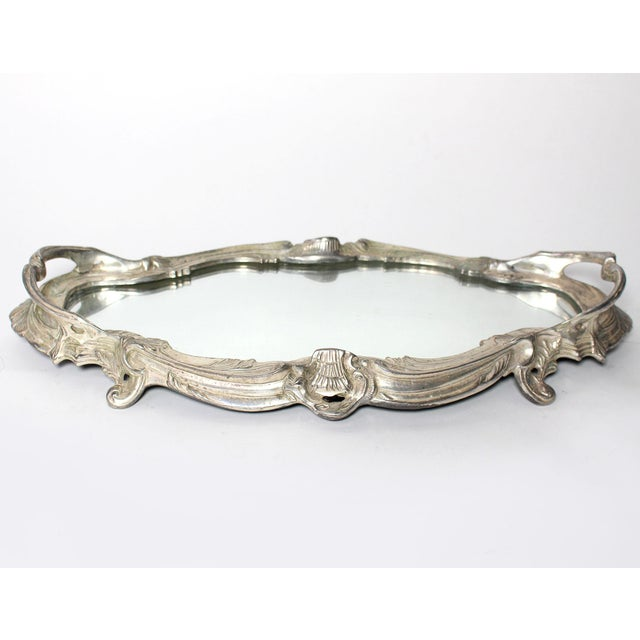 Antique French Louis XVI Silver Mirrored Plateau For Sale In Los Angeles - Image 6 of 6