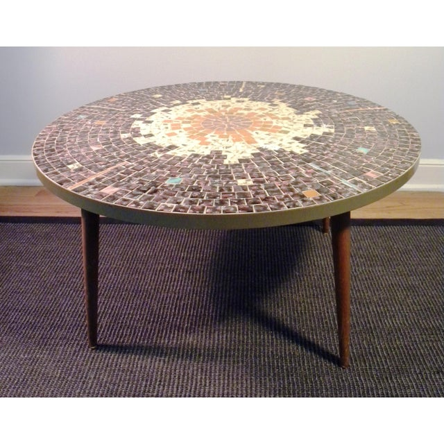 Vintage Mid Century Mosaic Coffee Cocktail Accent Table - Image 2 of 7