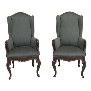 21st Century Bau Furniture Green Striped French Wing Chairs- A Pair For Sale