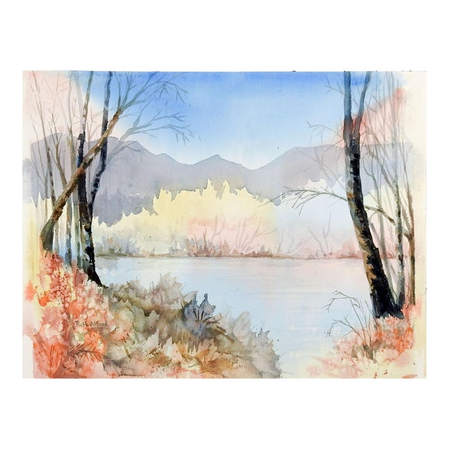 Lakeside Watercolor Painting in Pastel Colors For Sale