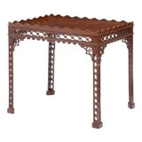 Image of Antique 18th C George III Mahogany Fret Carved Silver Table For Sale