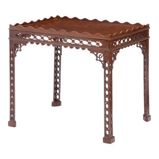 Antique 18th C George III Mahogany Fret Carved Silver Table For Sale