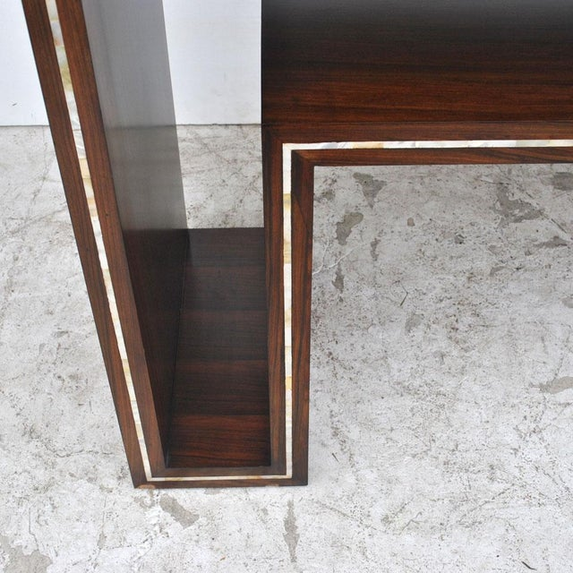 Modern Rosewood With Mother of Pearl Entry Sofa Table For Sale In Houston - Image 6 of 7