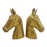 Image of Mid-Century Brass Horse Bust Bookends For Sale