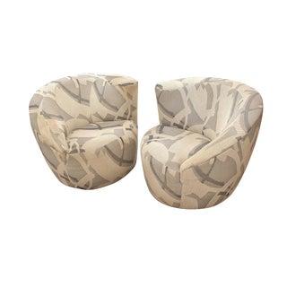 1970s Vintage Vladimir Kagan Nautilus Swivel Lounge Chairs- a Pair For Sale
