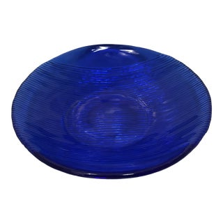 1970s Vintage Cobalt Blue Serving Bowl For Sale