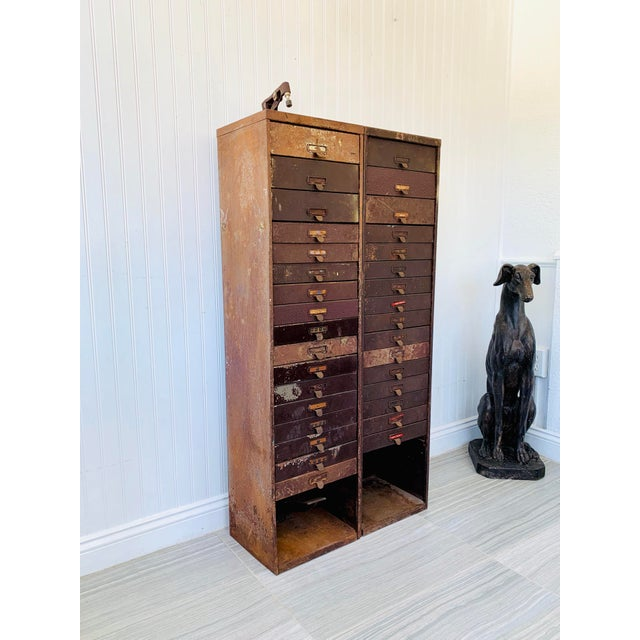 Industrial Metal Watchmaker/Jeweler Parts Cabinets - a Pair For Sale - Image 4 of 13