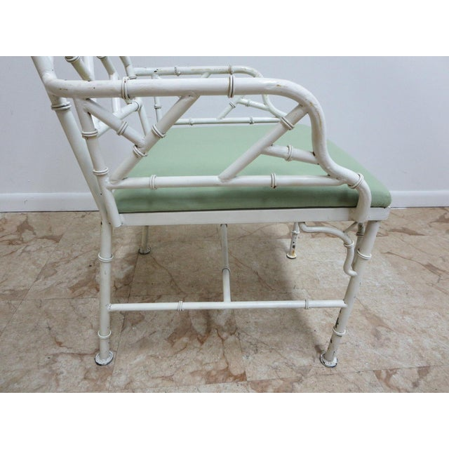 Metal Vintage Metal Faux Bamboo Arm Chair For Sale - Image 7 of 10