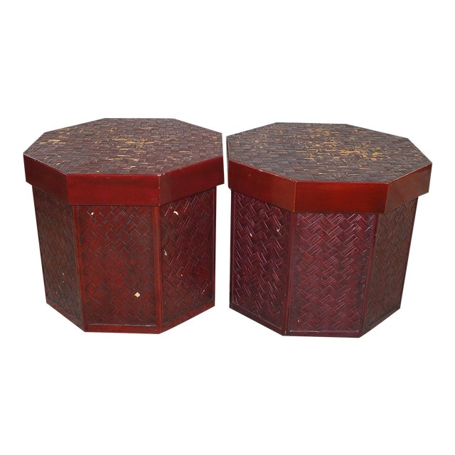"Antique 16"" Tall Chinese Red Storage Stools - Image 1 of 11"