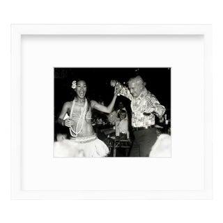 Mid-Century Modern Custom Framed Black & White Photograph of Luau Girl & Dancing Man Print For Sale