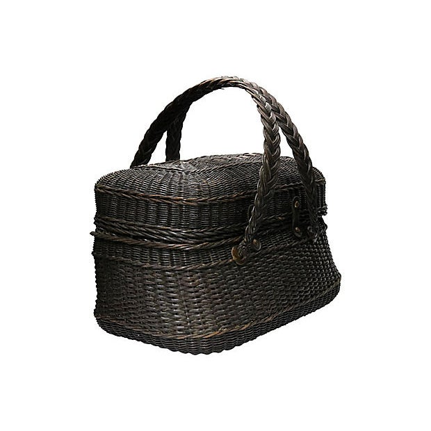 Antique French shopping basket with hinged and latched lid. No maker's mark. Light wear.
