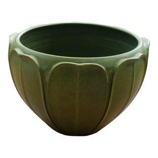 1990s Arts and Crafts Arts & Clay Company Tall Green Pottery Vase