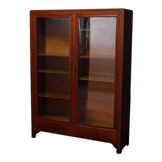 Antique Arts & Crafts Double Door Oak Bookcase with Stylized Carvings circa 1910 For Sale