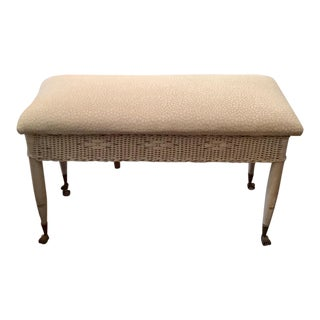 20th Century Shabby Chic Wicker Bench For Sale