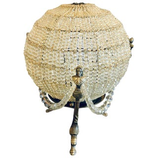 Antique Silver Plated Glass Beaded Dome Table Lamp on Tripod Figural Base For Sale