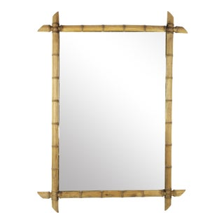 Large 1920 French Faux Bamboo Mirror For Sale