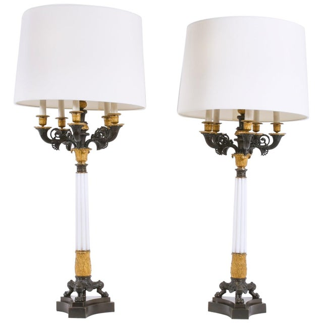 Gilt Bronze / Art Glass Candelabras Lamp - a Pair For Sale - Image 12 of 12