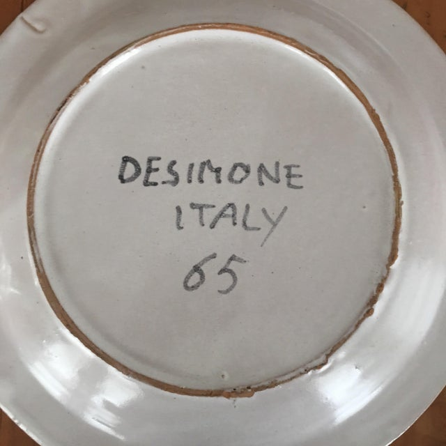 """Ceramic DeSimone Italian Vintage Mid-Century 10"""" Charger Plate For Sale - Image 7 of 8"""