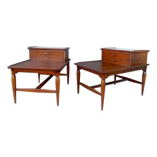 Mid Century Modern Limestone & Walnut Step Up Tables