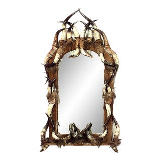 Rustic Horn and Leather Wall Mirror For Sale