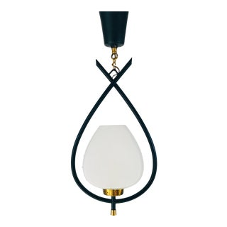 1950s Mid-Century Modern Brass and Opaline Glass Pendant Lighting by Maison Lunel, France For Sale