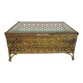 Mid-Century Gold Filigree Beveled Glass Jewel Case For Sale