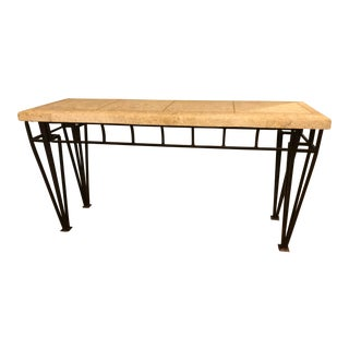 Industrial Travertine and Iron Console Table