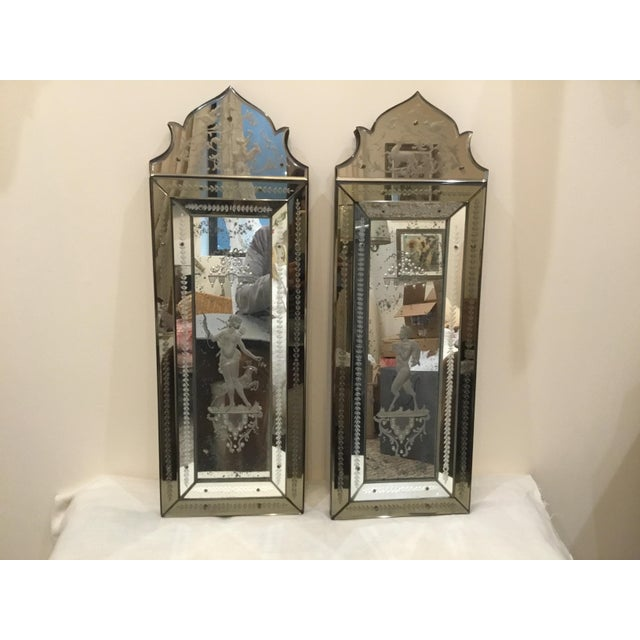 Pair of Antique Venetian Glass Etched Mirrors For Sale - Image 10 of 10