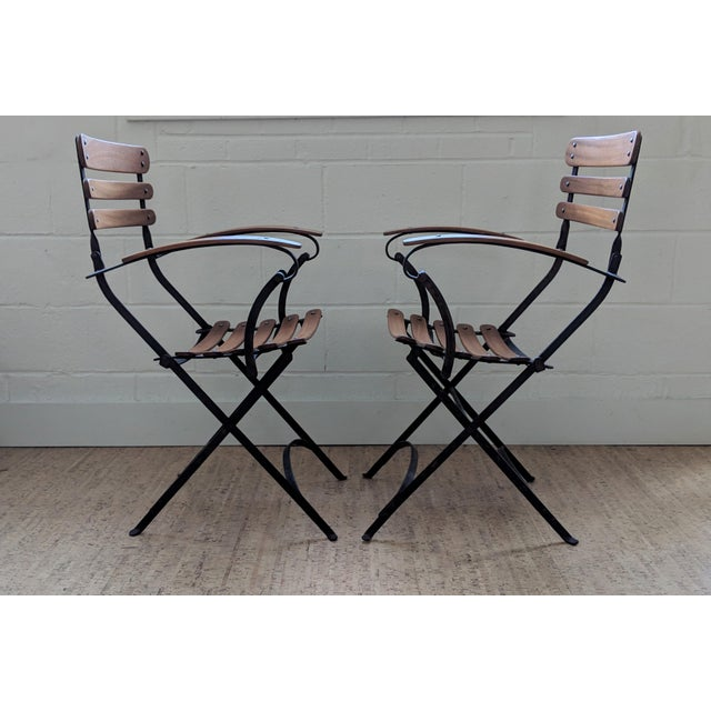 French French Country Antique Iron & Teak Garden Chairs – a Pair For Sale - Image 3 of 12