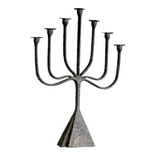 Mid-Century Brutalist Patinated Blow Torched Copper Candelabra For Sale