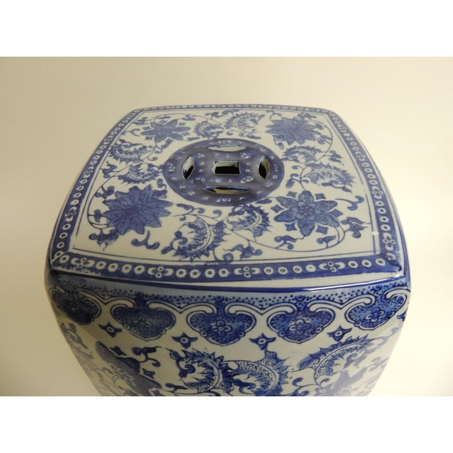 Vintage Blue & White Garden Stool - Image 4 of 7