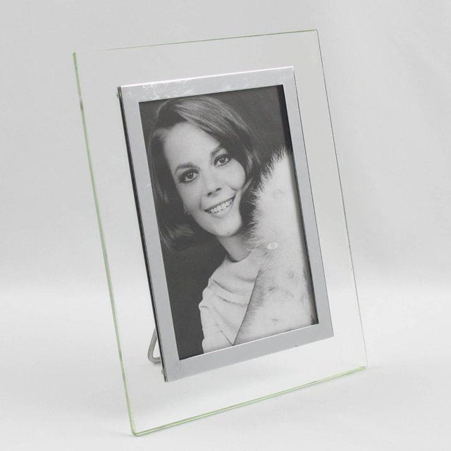 Lovely French Hollywood Regency glass picture photo frame. Elegant clear glass slab with geometric design and refined...
