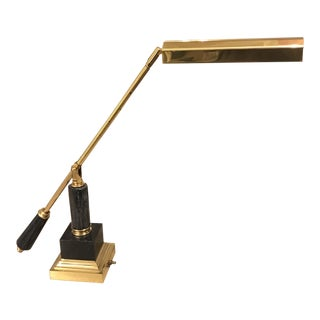 Mid-Century Modern Adjustable Brass & Marble Table Lamp